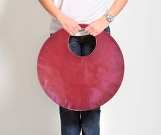 Circle bag, Grey fuchsia handbag, large leather tote handbag, rounded large clutch, double color bag on Etsy,