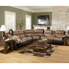 Presley   Cocoa Reclining Sectional Living Room Set