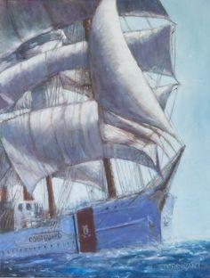 Oil, 18 x 24 by Don Sturdivant Full Sail, Sailing Ships, Oil, Watercolor, Pen And Wash, Watercolor Painting, Watercolour, Watercolors, Sailboat