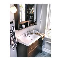 "HEMNES Mirror cabinet with 2 doors - black-brown stain, 40 1/2x6 1/4x38 5/8 "" - IKEA"