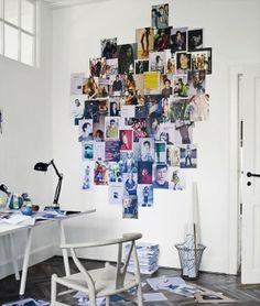 Decora tu pared con fotos y páginas de revistas DIY