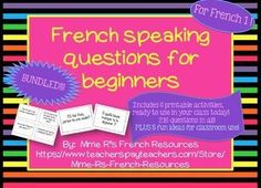 Need a FUN way to practice beginning French vocabulary and grammar  in class? Do you wish your students would speak more French?  If so, then you need this BUNDLE of speaking questions.In total, you will get 216 questions that will cover most first year French topics, including: food, family  adjectives, school, clothing, -er verbs, irregular verbs. Kids love this activity, because they get to get up and move!Each activity has 36 questions perfect for beginners!