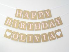 Happy Birthday Banner Gold and Pink by SignsationalSayings on Etsy
