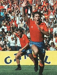 Spain 5 Denmark 1 in 1986 in Queretaro. Emilio Butragueno scores to complete his hat-trick and makes it 4-1 in Round 2 at the World Cup Finals.
