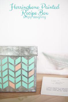 Herringbone Painted Recipe Box - cute way to personalize a plain metal recipe box | Simply Designing
