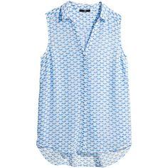 H&M Sleeveless blouse ($3.02) ❤ liked on Polyvore featuring tops, blouses, shirts, blusas, blue sleeveless blouse, blue top, shirts & blouses, sleeveless tops and v neck sleeveless shirt