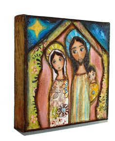 Nativity Night   Giclee print mounted on Wood 8 x 8 by FlorLarios, $35.00