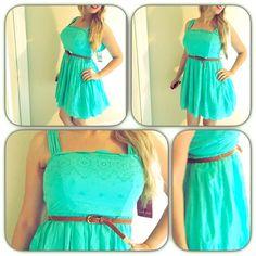 Girly Girl Emerald Sundae Dress Girly Girl Emerald Sundae Dress. Has tulle underneath to give volume. Too cute and girly girl. Runs true to size. Zips on the back. Belt included. Emerald Sundae Dresses