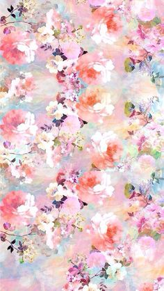 Pink blue lilac watercolour vintage floral roses iphone background lock screen phone wallpaper