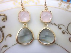 Great color combination! Gold Charcoal Gray Earrings Pink Earrings - Bridesmaid Earrings - Wedding Earrings - Bridesmaid Jewelry Gift. $32.00, via Etsy.
