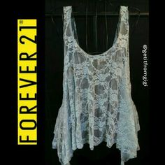 Forever 21 Lace Coverall Mint green in color. Size medium. There is a small hole towards bottom front. Pictured. Forever 21 Tops Tank Tops