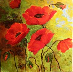 Red Poppies Original Acrylic Painting on Canvas Summer Flowers Art Painting by Artist on Etsy. $150.00, via Etsy.