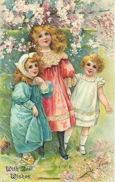vintage postcard with children ~ cherry blossoms