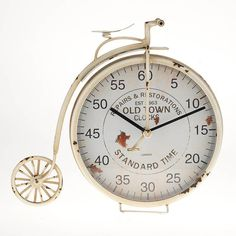 Metal table clock antique bicycle #retro #rustic vintage #clock www.inart.com
