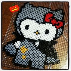 Hello Kitty Halloween costume perler beads by laydeetea