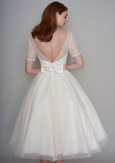 Loulou Bridal NELLIE Tea Length Polka Dot Short Vintage Wedding Dress With Sleeves - Short Wedding Gowns - [post_tags Tea Length Dresses, Lace Dresses, Vintage Dresses, Short Dresses, Vintage Tea Dress, Tea Dresses, Vintage Inspired Wedding Dresses, Bridal Wedding Dresses, Wedding Vintage