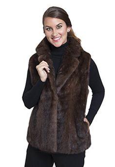 35328e866bcbf Female Mink Fur Vest with Notched Collar