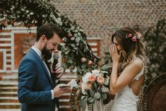 This German wedding was filled with lush garland and gorgeous peach floral accents | Image by Vicky Baumann