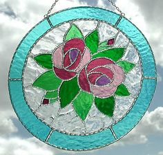 Stained Glass Pink Roses Suncatcher  Art by StainedGlassDelight, $33.95