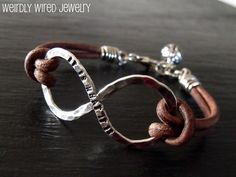 Infinity and Leather Mens Bracelet