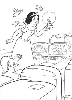 Snow White Carrying A Candle Coloring Page