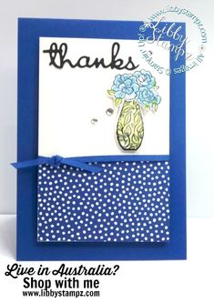 For this card I used:  Vibrant Vases Photopolymer Stamp Set Vases Builder Punch Well Written Framelits Dies Blueberry Bushel 1/8″ (3.2 mm) Grosgrain Ribbon Rhinestone Basic Jewels Clear Wink Of Stella Glitter Brush