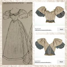 1893 An evening dress in finely corded cream silk with satin stripes, one band in pale pink, black and yellow and the other in pale turquoise blue, black and silver grey. The London Museum. Patterns of Fashion 2 page 42