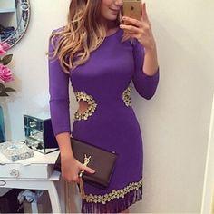 Malang Fashion Purple Patchwork Lace Cut Out Round Neck Mini Dress