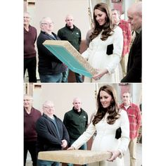 The Duchess of Cambridge is shown props as she visits the set-costruction department during her visit to the set of Downton Abbey | March 12,2015. ❤  #katemiddleton #duchessofcambridge #2ndpregnancy
