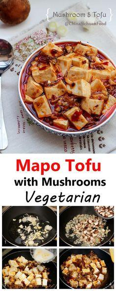 Mapo Tofu with Mushrooms-Vegetarian | China Sichuan Food