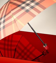 Vibrant check umbrella in coral from the Burberry S/S13 accessories collection
