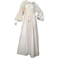 Preowned Vintage Crochet Cream Maxi Cardigan Coatigan 1960s Hippie... (700 BGN) ❤ liked on Polyvore featuring outerwear, coats, white, cream coat, collar coat, cream wool coat, white woolen coat and maxi coat