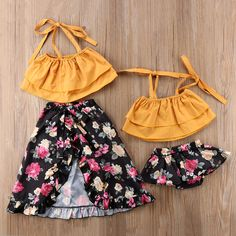 Cute Little Girls Floral Sisters Matching Dress Set Family Outfits, Kids Outfits, Cute Outfits, Summer Outfits, Baby Bikini, Little Girl Fashion, Kids Fashion, Fashion Design, Matching Sister Outfits