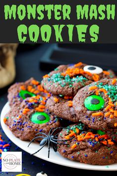 THESE COOKIES ARE DELICIOUS, ADORABLE AND EASY!! My boys and I LOVE making these cookies together. Monster Mash Cookies are CUTE homemade chocolate cookies with chocolate chips that are decorated with sprinkles, sugar crystals, nonpareils and monster eyes. They're EASY DIY fun to make decorated for kids this Halloween! #halloweencookies Click the link to get the recipe instructions! Delicious Cookie Recipes, Yummy Cookies, Baking Recipes, Chocolate Chip Cookies, Easy Desserts, Dessert Recipes, Incredible Recipes, Halloween Desserts, Homemade Chocolate