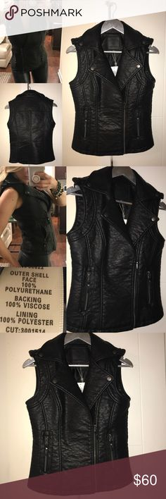 Faux Leather Vest NWT Max Jeans Black Faux Leather Biker Vest, size XS Max Jeans Jackets & Coats Vests