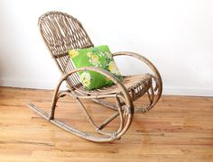 Items similar to Amazing Albini Style Italian Modern Rocking Chair on Etsy Wicker Patio Furniture, Wicker Chairs, Rattan, My Dream Home, Sweet Home, Traditional, Interior, Modern, House