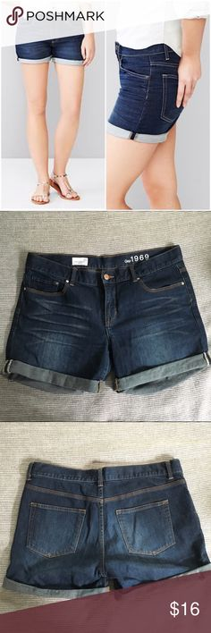 """Gap 1969 Sexy Boyfriend Denim Shorts Gap Sexy Boyfriend denim shorts size 29 in a classic dark wash. Subtle intentional distressing throughout, including a small rip on one of the cuffed hems. These have a relaxed fit and would fit a size 30 also: lying flat, the waist measures 18"""" across and these have a 4"""" inseam - not too short and not too long! Only worn a couple of time last summer. No longer fit but are in great condition. Gap Shorts Jean Shorts"""