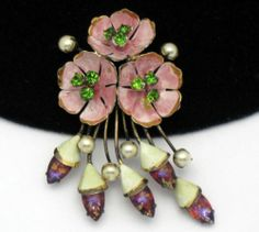 Vintage 40's SANDOR STERLING Enamel Rhinestone Art Glass Flower Brooch Pin $196.00