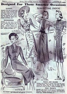Slim-fitting frocks designed for those smarter occasions (1938-39). #vintage #1930s #fashion #illustrations