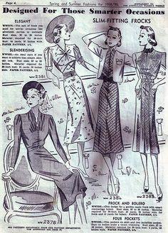 Slim-fitting frocks designed for those smarter occasions (1938-39). #vintage #1930s #fashion #illustrations