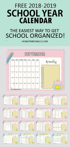Plan a great school year. This free school year calendar for 2018 to 2019 will help you get things organized. Make this year your best yet! Planning School, School Planner, Student Planner, Life Planner, Student Calendar, School Calendar, Online Calendar, Teacher Binder, Teacher Stuff