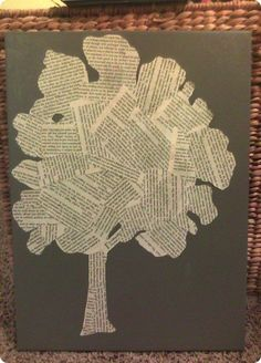 tree art from book pages