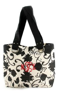 Great tote w/your monogram~many thread colors to choose from! www.initialoutfitters.net/ashleythames