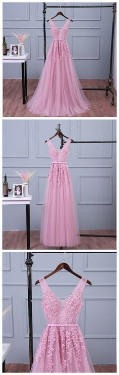 Lace appliqued v-neck prom dress,peach long bridesmaid dresses