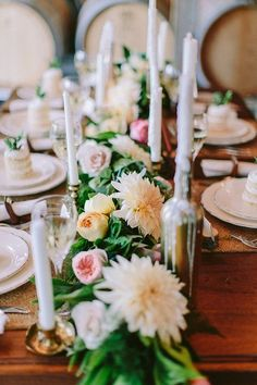 Elegant Botanical Tablescape with a Floral Runner and Taper Candles | Danaea Li Photography on @Hey Wedding Lady via @Aisle Society
