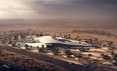 Informed by its 90,000 sq m desert site, Zaha Hadid has envisioned the headquarters as a fleet of sweeping 'sand dunes' orientated to optimise the prevailing Shamal winds and limit the quantity of glazing exposed to the harsh sun. Two primary dunes intersect and connect via a central courtyard 'oasis' inside the building – a feature that's designed to enhance natural ventilation and channel indirect sunlight into the building's cathedral-like interiors.