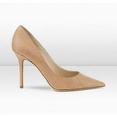 Jimmy Choo Abel 100mm Nude Matt Elaphe Snake Skin Pointy Toe Pumps [JC heels 305] - $148.00 :