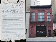 Warhol's first lease and an exterior shot of his first studio space's building.