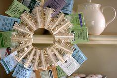 Tea wreath?  I had to do a double take. It looks like a condom dispenser!