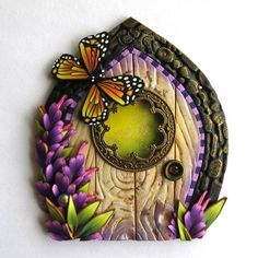 Monarch Butterfly Fairy Door from polymer clay
